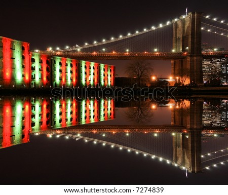 Brooklyn Bridge Christmas Lights in New York City