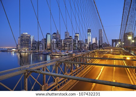 Brooklyn Bridge. Image of the Brooklyn Bridge and Manhattan skyline.