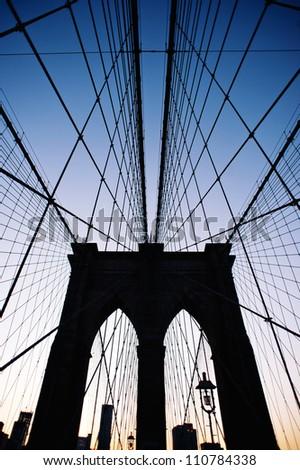Brooklyn Bridge in New York at dusk.