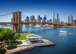 Brooklyn Bridge in New York City - aerial view