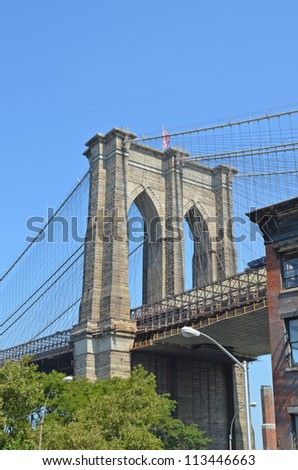 Brooklyn Bridge in the center of New York City - stock photo