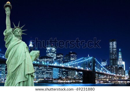 Brooklyn Bridge, Manhattan Skyline and The Statue of Liberty at Night Lights, New York City