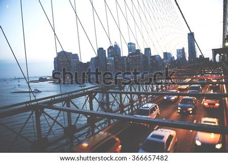 Brooklyn Bridge New York City Urban Metropolitan Concept #366657482