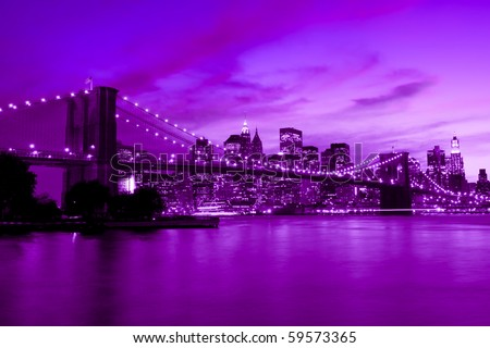 Brooklyn Bridge, New York in purple and blue hue
