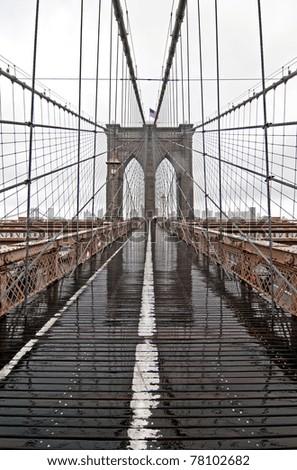 Brooklyn Bridge on a rainy day