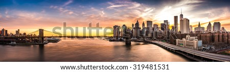 Brooklyn Bridge panorama at sunset #319481531