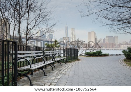 Brooklyn Bridge Park Bench and Walkway with Manhattan Skyline