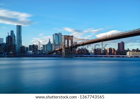 Brooklyn bridge park by east river NYC cityscape skyline, NYC USA