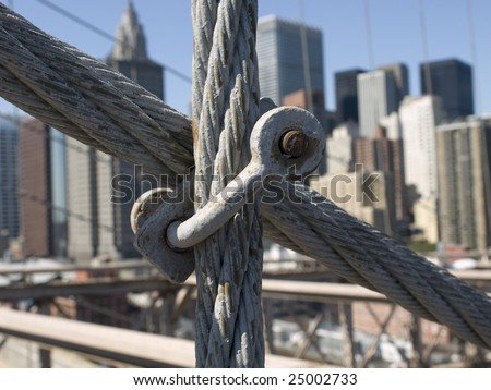 Brooklyn Bridge steel cable close up.