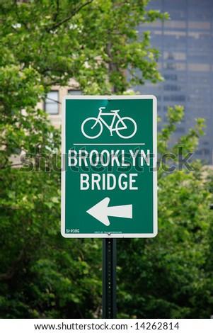 Brooklyn Bridge street sign - New York City, USA
