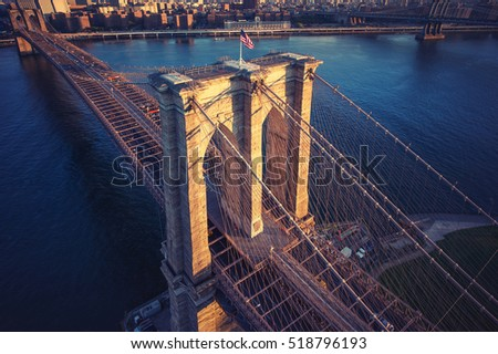 Brooklyn Bridge trom top - aerial view with East river. Background image. Taken from Brooklyn.