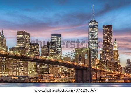 Brooklyn Bridge with sunset, New York City, USA