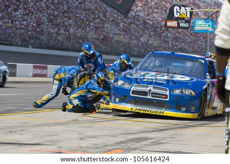 BROOKLYN, MI - JUN 17, 2012:  Brad Keselowski (2) brings in his car for service during the Michigan International Speedway in Brooklyn, MI on June 17, 2012.