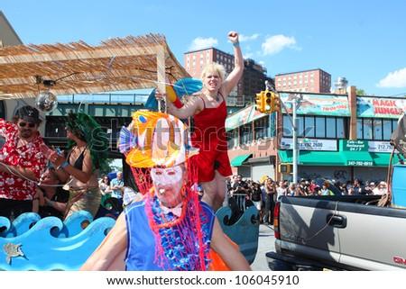 BROOKLYN, NEW YORK - 23 JUNE 2012: celebrants don aquatic-themed costumes in honor of Brooklyn's annual Mermaid Parade on 23 June 2012 in Brooklyn, New York.