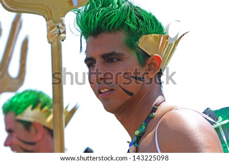 BROOKLYN, NEW YORK - JUNE 22, 2013: Coney Island's annual Mermaid Parade is gathering of funnest & most outrageous people celebrating the start of summer on June 22, 2013 in New York City