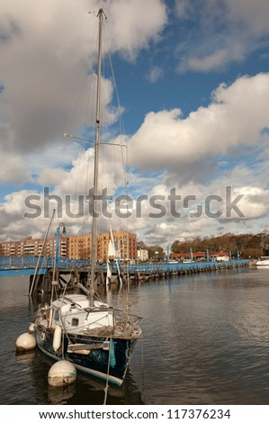BROOKLYN, NEW YORK - OCTOBER 30: The damaged yacht in the aftermath of the Superstorm Sandy on October 30, 2012 in the Sheepshead Bay, Brooklyn, New York, USA.