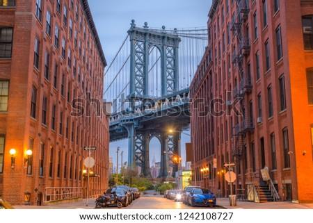 Brooklyn, New York, USA cityscape with Manhattan Bridge.
