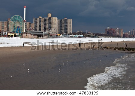 BROOKLYN, NY - FEBRUARY 28: Snow covered Coney Island Astroland Park beach after the NYC snow storm of 2010.