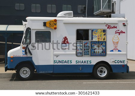 BROOKLYN, NY - JUNE 30, 2015: Ice cream truck in Brooklyn. Mister Softee is a United States-based ice cream truck franchisor popular in the Northeast founded in 1956