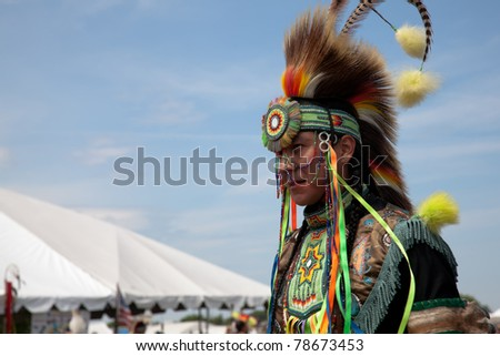 BROOKLYN, NY - JUNE 4: Powwow Native American Festival at Floyd Bennett Field on June 4, 2011 in Brooklyn, NY.  The festival attracts over 500 Native American artists, singers and dancers.