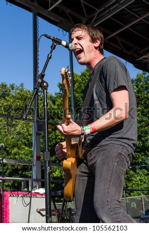 BROOKLYN, NY - JUNE 15: The Thermals performs at Northside Festival, McCarren Park concert June 15, 2012 in Brooklyn, NY - stock photo
