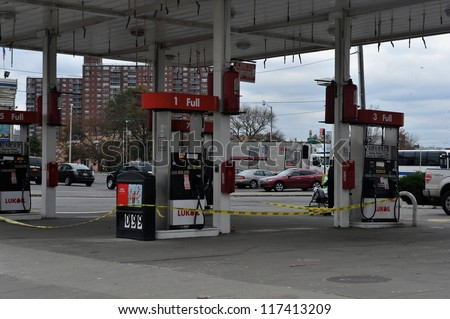 BROOKLYN, NY - NOVEMBER 01: Gas station is closed at the Seagate neighborhood due to impact from Hurricane Sandy in Brooklyn, New York, U.S., on Thursday, November 01, 2012.