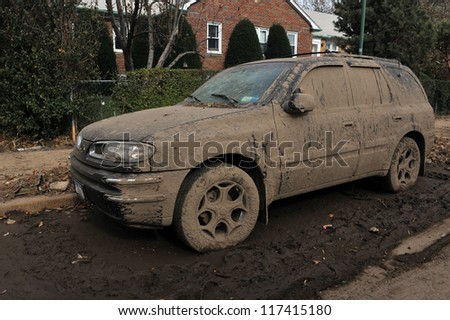 BROOKLYN, NY - NOVEMBER 01: Serious damage and dirt on the cars at the Seagate neighborhood due to impact from Hurricane Sandy in Brooklyn, New York, U.S., on Thursday, November 01, 2012.