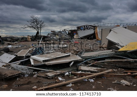 BROOKLYN, NY - NOVEMBER 01: Serious damage in the buildings at the Seagate Beach club due to impact from Hurricane Sandy in Brooklyn, New York, U.S., on Thursday, November 01, 2012. - stock photo