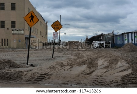 BROOKLYN, NY - NOVEMBER 01: Serious damage on the beach at the Seagate neighborhood due to impact from Hurricane Sandy in Brooklyn, New York, U.S., on Thursday, November 01, 2012.