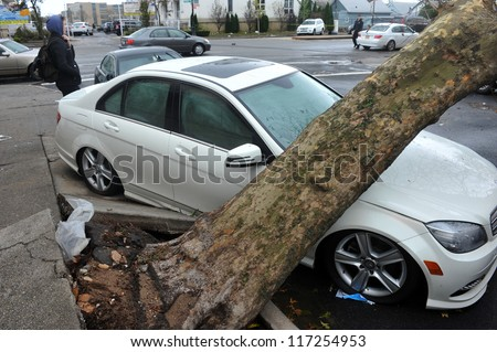 BROOKLYN, NY - OCTOBER 30: A fallen tree lies across a car n the Sheapsheadbay neighborhood due to flooding from Hurricane Sandy in Brooklyn, New York, U.S., on Tuesday, October 30, 2012.