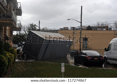 BROOKLYN, NY - OCTOBER 30: Big container was pulled on the ground in the Sheapsheadbay neighborhood due to flooding from Hurricane Sandy in Brooklyn, New York, U.S., on Tuesday, October 30, 2012.