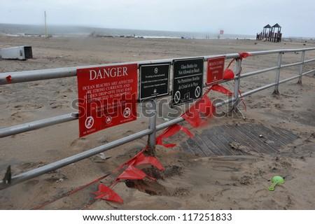 BROOKLYN, NY - OCTOBER 30:Debris litters the coney island beach in the Sheapsheadbay neighborhood due to flooding from Hurricane Sandy in Brooklyn, New York, U.S., on Tuesday, October 30, 2012.