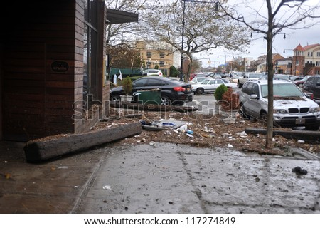 BROOKLYN, NY - OCTOBER 30: Debris litters the ground in the Sheapsheadbay neighborhood due to flooding from Hurricane Sandy in Brooklyn, New York, U.S., on Tuesday, October 30, 2012.
