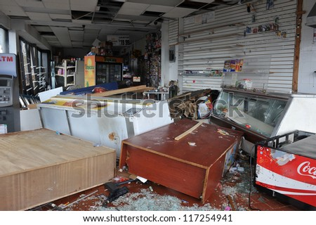 BROOKLYN, NY - OCTOBER 30:Destroyed grocery store in the Sheapsheadbay neighborhood due to flooding from Hurricane Sandy in Brooklyn, New York, U.S., on Tuesday, October 30, 2012.