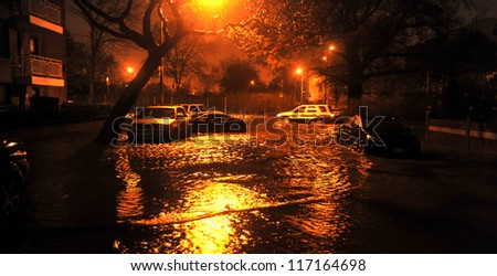 BROOKLYN, NY - OCTOBER 29: Flooded street, caused by Hurricane Sandy, are seen on October 29, 2012, in the corner of Bragg street and  Shore Pway of Brooklyn NY, United States.