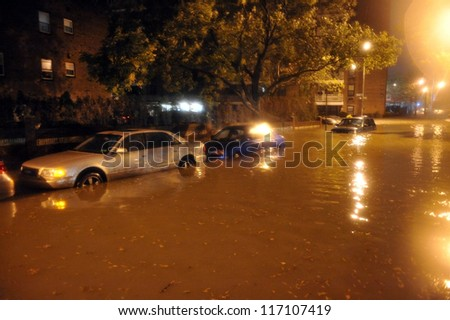 BROOKLYN, NY - OCTOBER 29: Flooded streets, caused by Hurricane Sandy, are seen on October 29, 2012, in the corner of Brigham street and  Shore Pway of Brooklyn NY, United States.