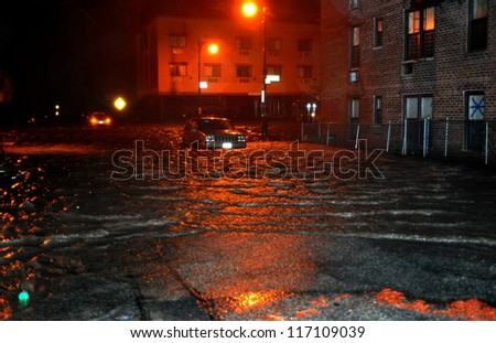BROOKLYN, NY - OCTOBER 29: Flooded streets, caused by Hurricane Sandy, are seen on October 29, 2012, in the corner of Brigham street and  Emmons Avenue of Brooklyn NY, United States.