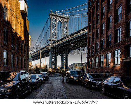 BROOKLYN, USA - CIRCA DECEMBER 2017: A quick look at the Manhatten bridge. #1066049099