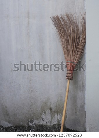 Grass flower brooms for house clean tool equipment background Images