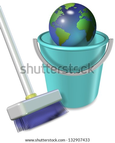 Broom and plastic bucket with earth globe in it / Earth in plastic bucket