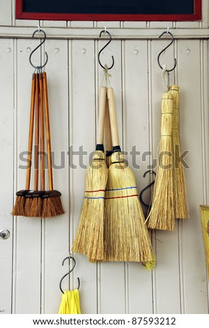 Brooms at a household shop in France
