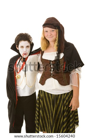 Brother and sister dressed in their halloween costumes.  Isolated on white.