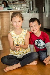 Brother and Sister with Box Turtle