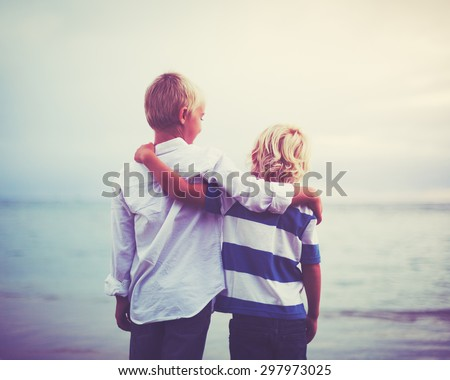 Brothers, Happy young brothers hugging at sunset. Friendship brotherhood concept