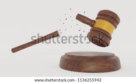 Brouken Judge Wood Hammer on  white background. When the laws do not work. 3D Gavel. Render.