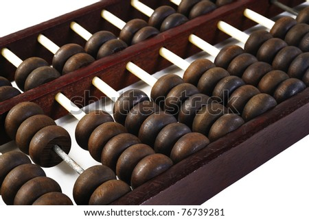 brown abacus on background