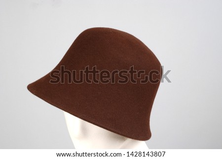 brown accessory female trilby hat lifeless mannequin head background backdrop grey women accessories Fashion Textile Trend.