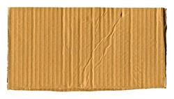 Brown and beige colored corrugated cardboard detail, isolated on white background
