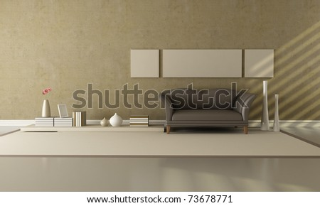 brown and beige living room with fashion sofa - rendering