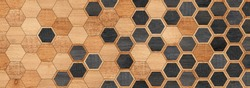 Brown and black wooden wall with hexagonal pattern. Wood texture for background.